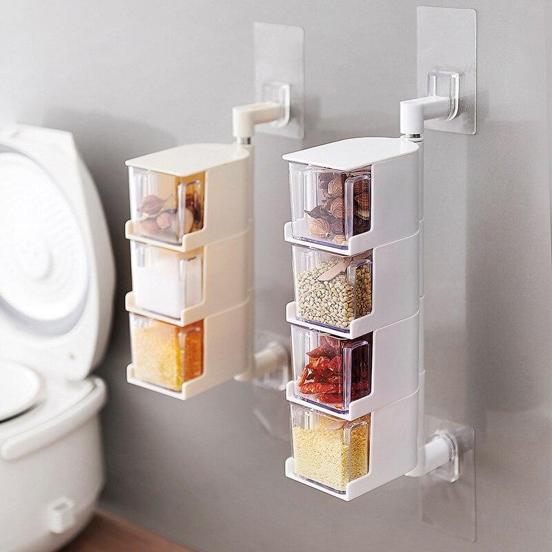 Паста кухня настенное крепление вращающийся многослойный приправа коробка с ложка крышка прозрачная приправа банка кухонный инструмент п...