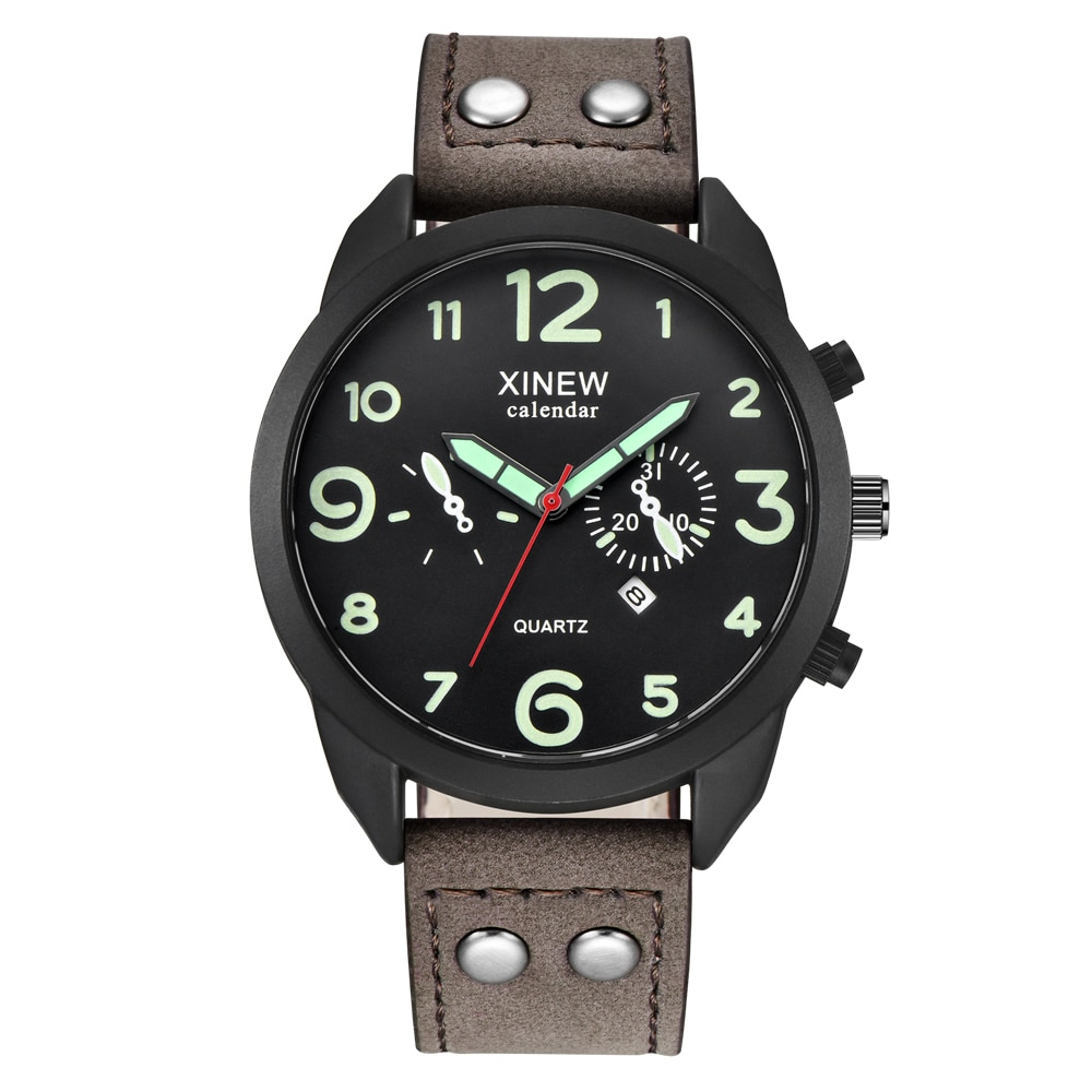 XINEW-ساعات جلدية للرجال ، كوارتز ، رياضية ، عسكرية ، تقويم ، رخيصة ، 2020
