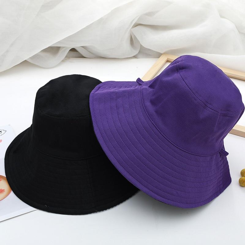 New Unisex Sun Hats Women Summer Double Side Bucket Hat Men Pure Color Panama Fedoras Outdoor Fisher