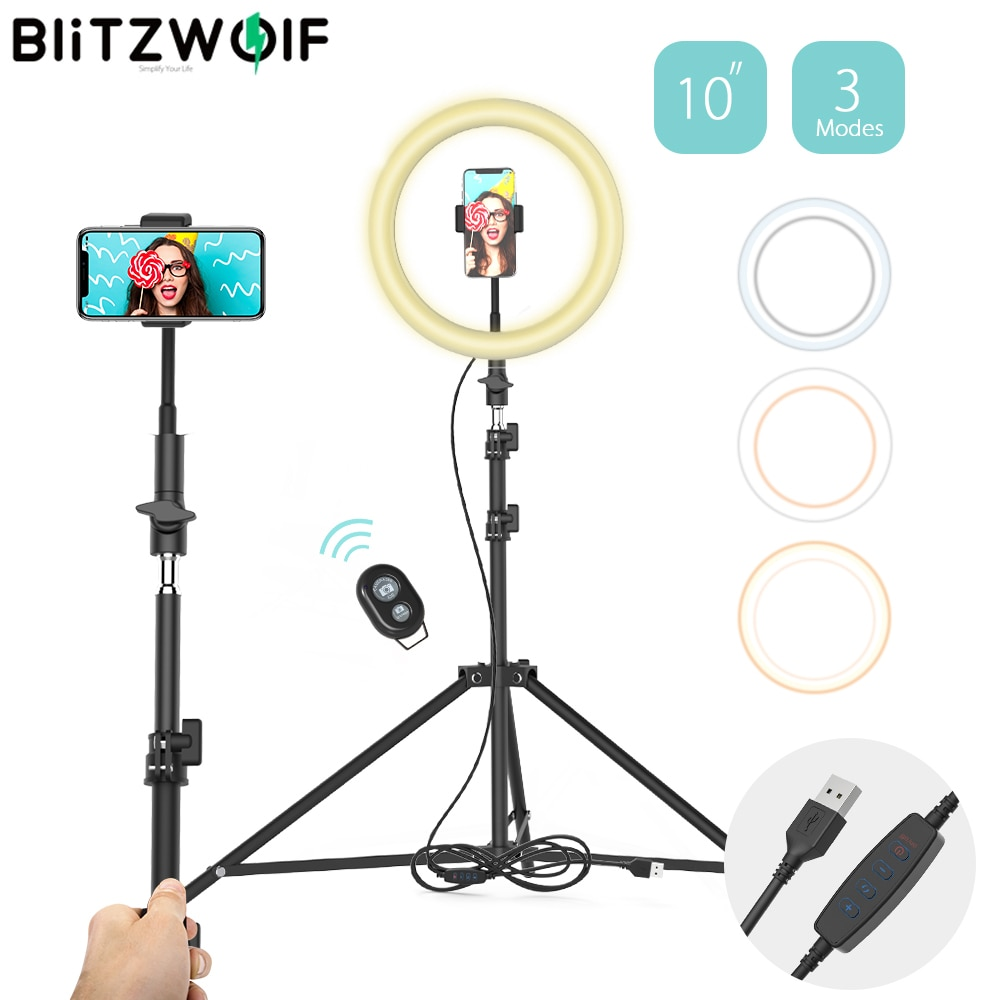 BlitzWolf BW-SL2 12W Adjustable Professional Phone Holder Tripod Flash 126 LEDs Phone Holder Selfie Stick 12 Brightness Tripods