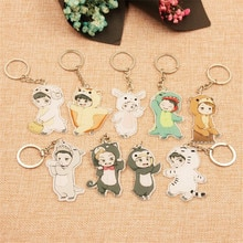1PC 귀여운 9 스타일 만화 EXO 아크릴 키 체인 패션 쥬얼리 액세서리 귀여운 소년 모양의 펜던트 열쇠 고리