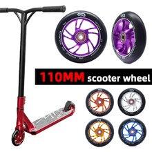 [110MM] moyeu en acier allié daluminium roue de Scooter haute élasticité 88A roue de planche à roulettes de précision argent doré Orange bleu violet
