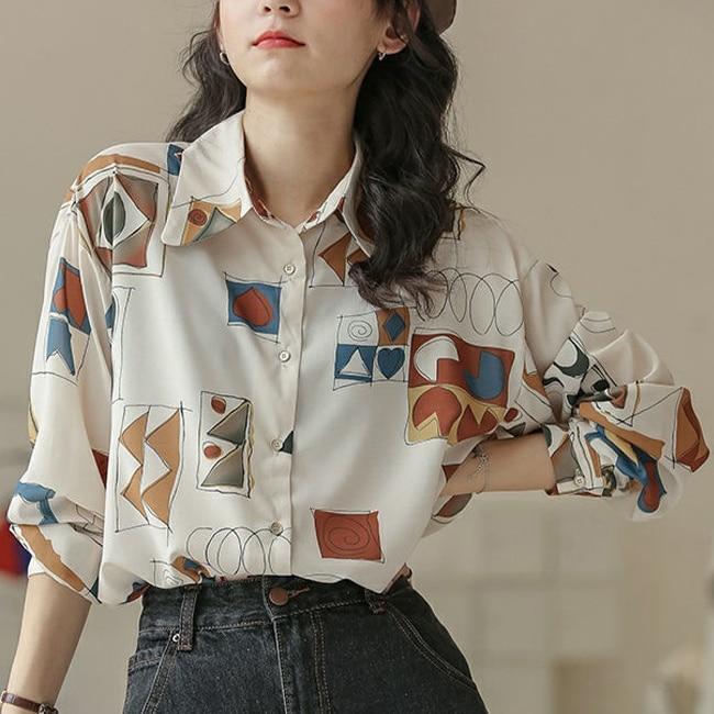 MINGLIUSILI Harajuku Print Blouse Women Spring 2021 Fashion Button Up Shirt Long Sleeve Vintage Loos