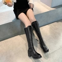 womens boots autumn lace up sexy thigh high heels high sexy female shoes boots women round toe stiletto over the knee ladies ro