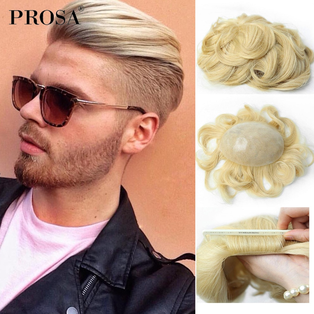 Wig Men's Hair for Men Human Hair Thin Skin All V-looped Mens Hair Pieces Natural Real Hair Replacement System Man Fashion