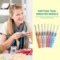 8pcs crochet hook set plastic handle sweater knitting needle kit diy hand made craft fabric weaving tools 2 5 6mm