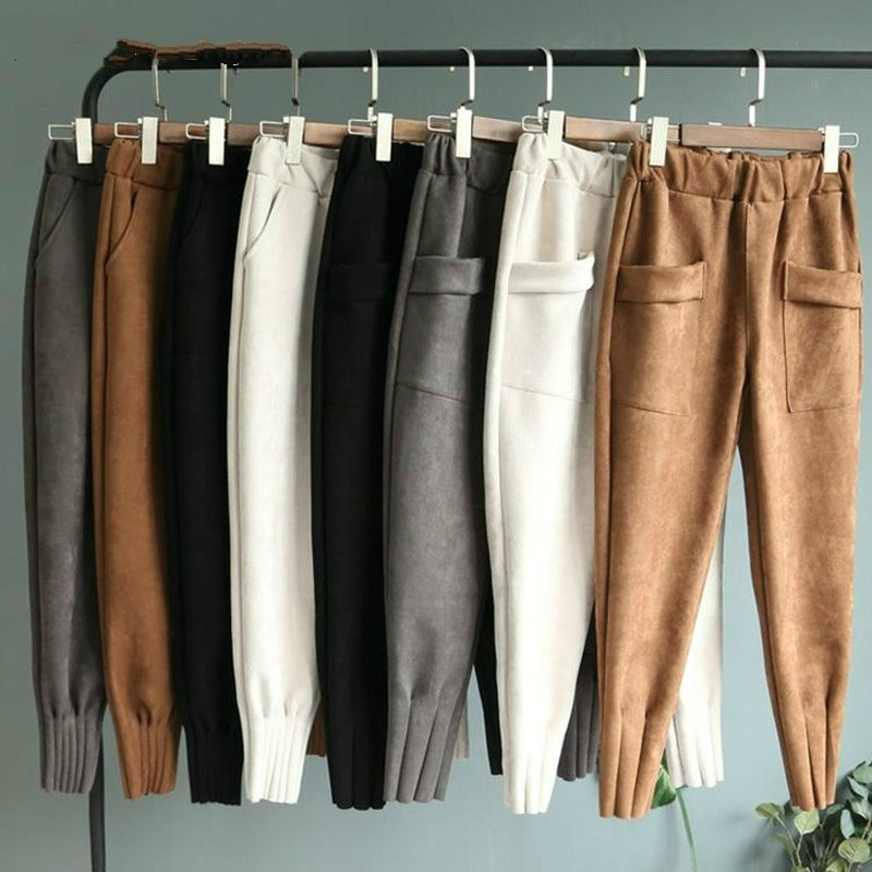 Women Faux Leather Suede Pant Autumn Winter Female Elastic Waist Warm Thick Harem Casual Pants Trousers