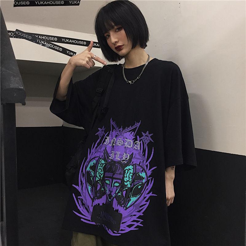 Черная футболка в стиле панк, женская футболка с графическим рисунком, летняя футболка в японском стиле, harajuku kawaii, уличная летняя футболка в ...