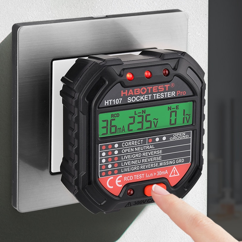 Habotest HT107 Socket Tester Pro Voltage Test RCD 30mA Socket Detector UK EU Plug Ground Zero Line Plug Polarity Phase Check