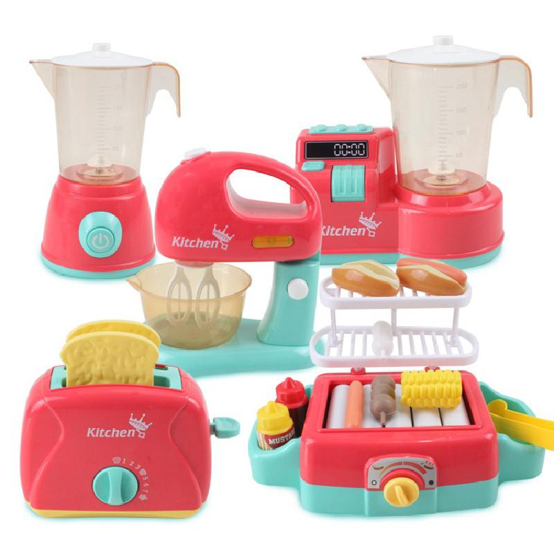 Simulation Appliances Kitchen Mini Blender Toaster Mixer With Led Pretend Play Toy Children Play Hou