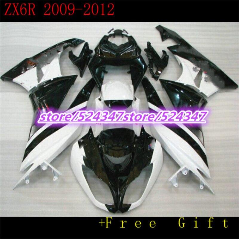 100% ABS حقن أطقم هدية لكاواساكي النينجا ZX-6R 09-12 سنة 2009 2010 2011 2012 ZX6R 09 10 11 12 Motobike الأسود جديد