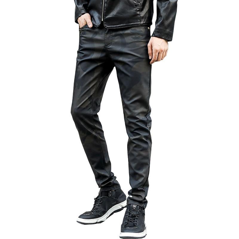 2020 весенние модные облегающие мужские кожаные брюки, мужские повседневные облегающие моющиеся мотоциклетные брюки, камуфляжные кожаные бр...