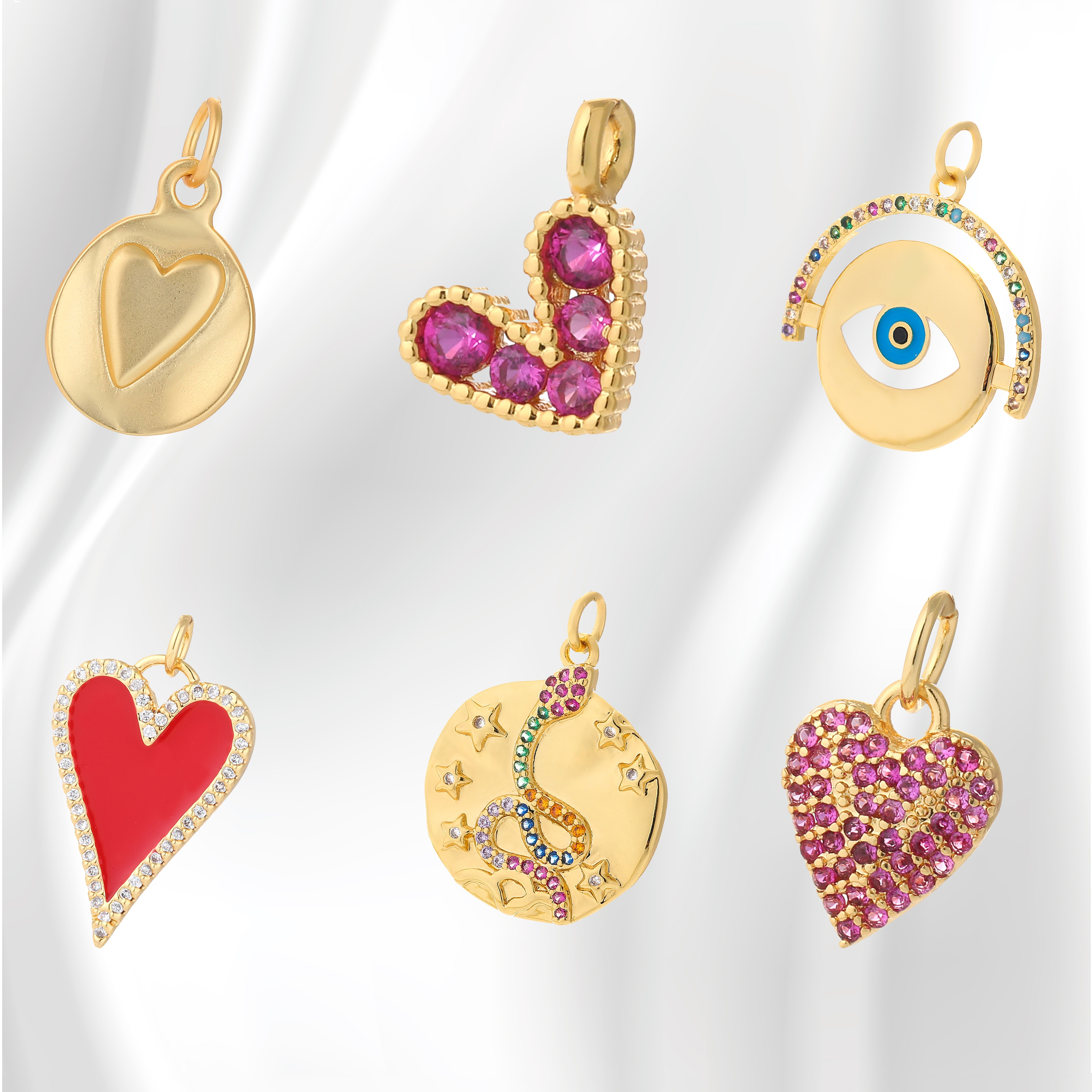 AliExpress - Heart-shaped Charms for Bracelet Necklace Pendant Diy Charms for Jewelry Making Necklace for Women Snake Colorful Copper 2021