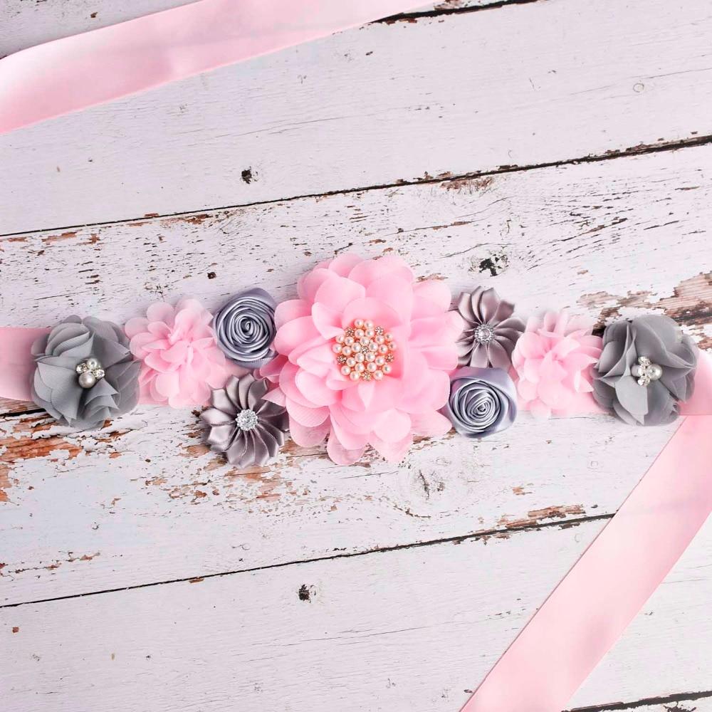 Handmade Polygonal Flowers Women Sash Fashion Chiffon Floral Maternity Waistband Bridesmaids Dress B