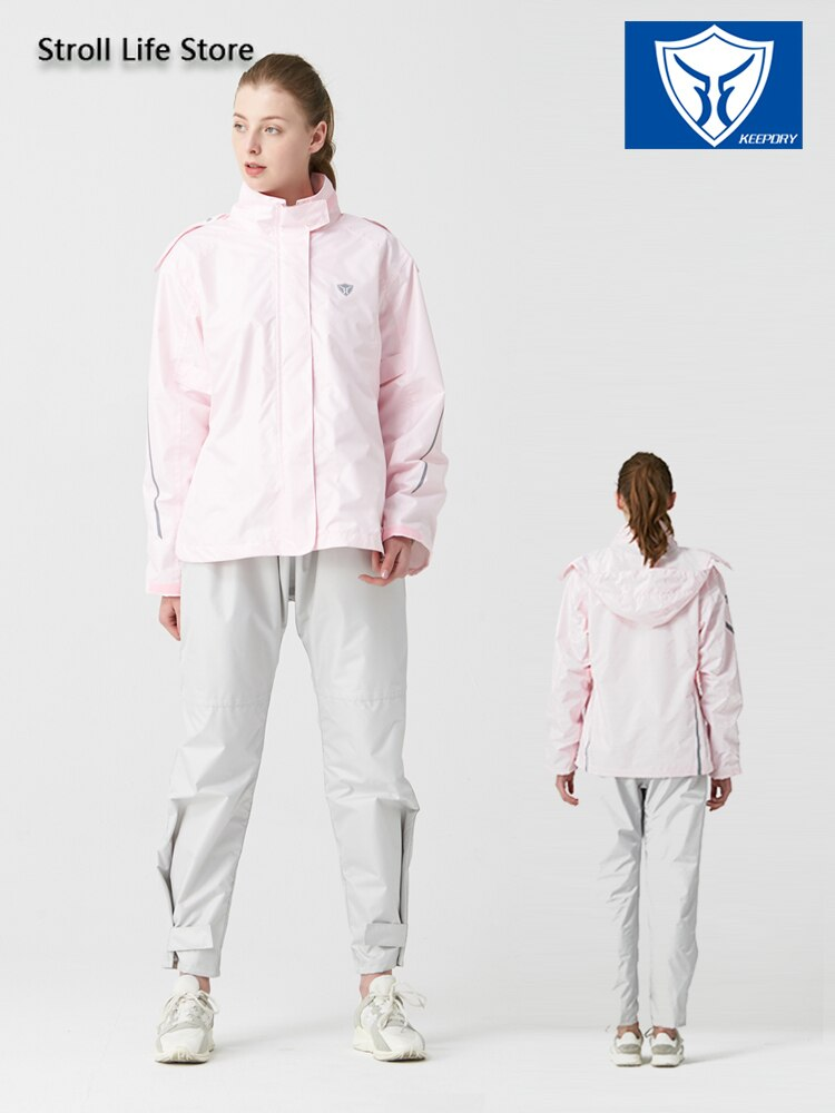 Pink Waterproof Raincoat Women Rain Pants Jacket Clothing Hiking 190T Nylon Fabric Hooded Womens Raincoat Impermeable Gift Ideas enlarge