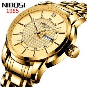 NIBOS Mens Watches Top Brand Luxury Full Steel Simple Gold Male Clock Waterproof Big Dial Fashion Watch Men Relogio Masculino