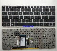 Clavier américain pour HP EliteBook 2560p 2570P 2570 2560 anglais ordinateur portable KB cadre argent