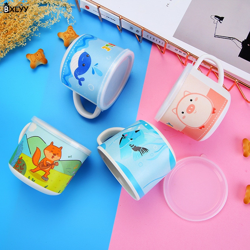 BXLYY patrón de dibujos animados de fibra de bambú para niños copa de fondo plano Anti-escaldado Anti-caída taza de cocina para niños accesorios Gift.8z