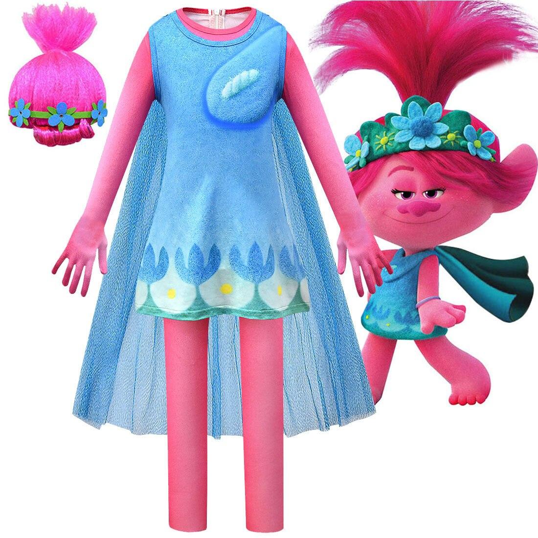 Disfraces de Trolls para niños, Disfraces de Halloween, disfraces de fantasía para niñas, Mono para niñas, disfraz de Elf World COS, mono + vestido + capa + juego de pelucas