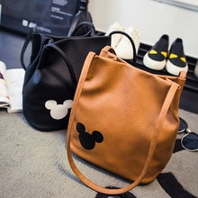 Mickey handbags PU Leather Organizer Small Cute Bucket Bag Messenger bags Women  minnie shoulder Bags Bolsos Gift