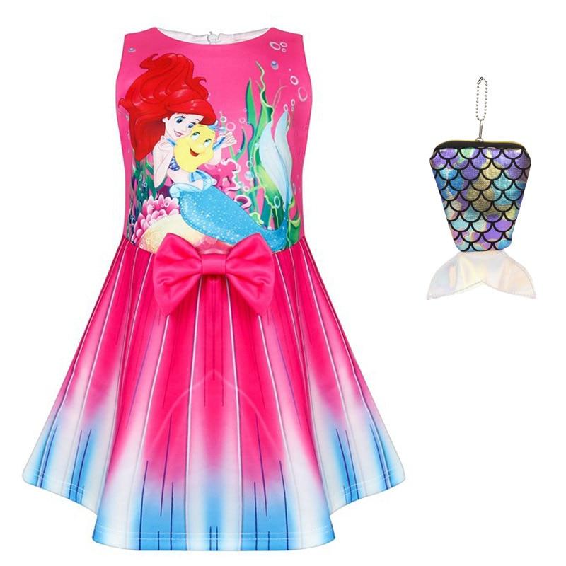 Año Nuevo niña roja fiesta de Navidad pequeña sirena Ariel vestido de princesa Cosplay niños bebé niña sirena niños disfraces y bolsa