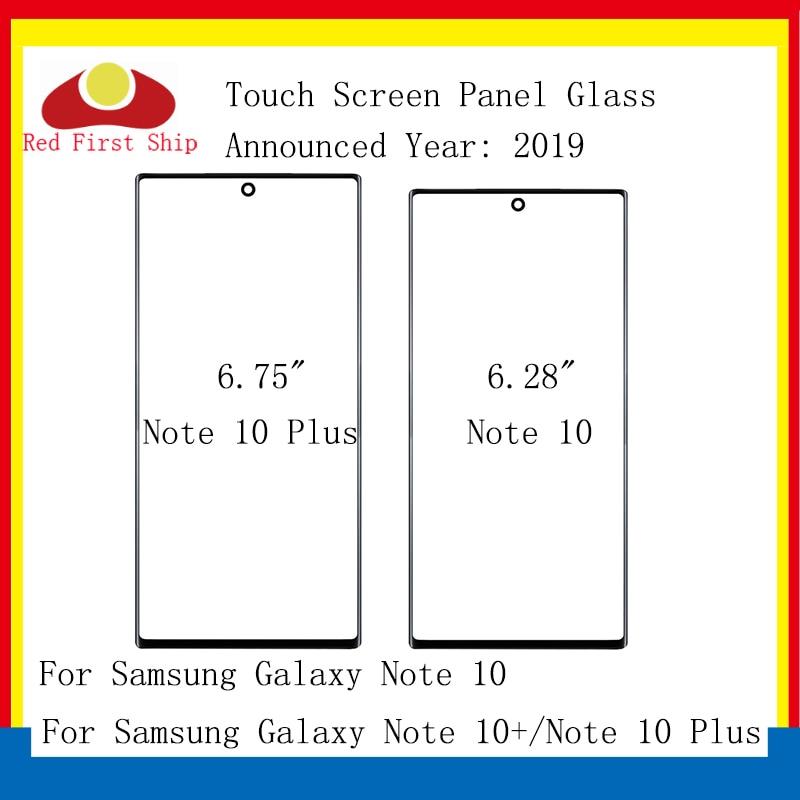 10 unids/lote para Samsung Galaxy Nota 10 N970 táctil de cristal frontal pantalla Nota 10 + Plus + N975 LCD Panel exterior pieza de reparación de lentes