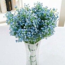 Fleur artificielle bleu en lumière à assembler soi-même   Branche de fleur gypsophile, fausse plante Silicone pour bébé, décoration de fête, mariage, maison, hôtel