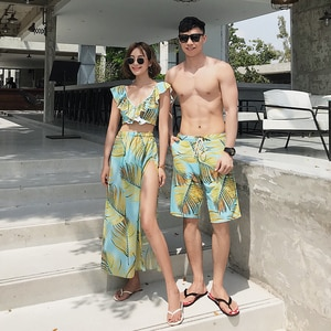 Women Mens Swimsuit matching couples swimsuits Bikini Men Board Shorts Swimming Trunks Beach swimwear Surfing Boardshort