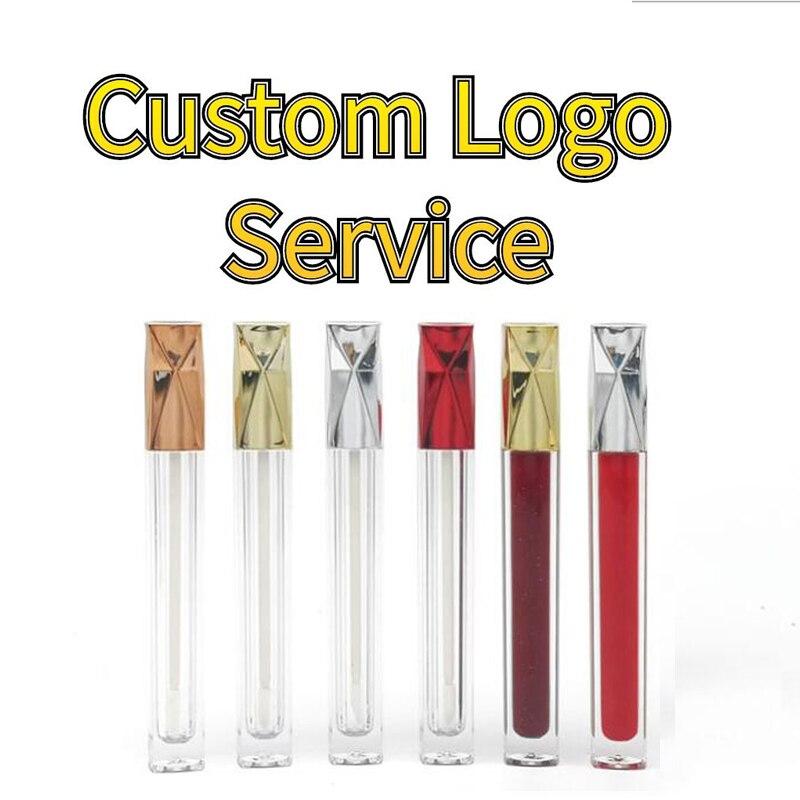 Lápiz labial de tubo de brillo de labios con logotipo personalizado etiqueta privada vacío personalizado embalaje de etiquetado de maquillaje cosmético