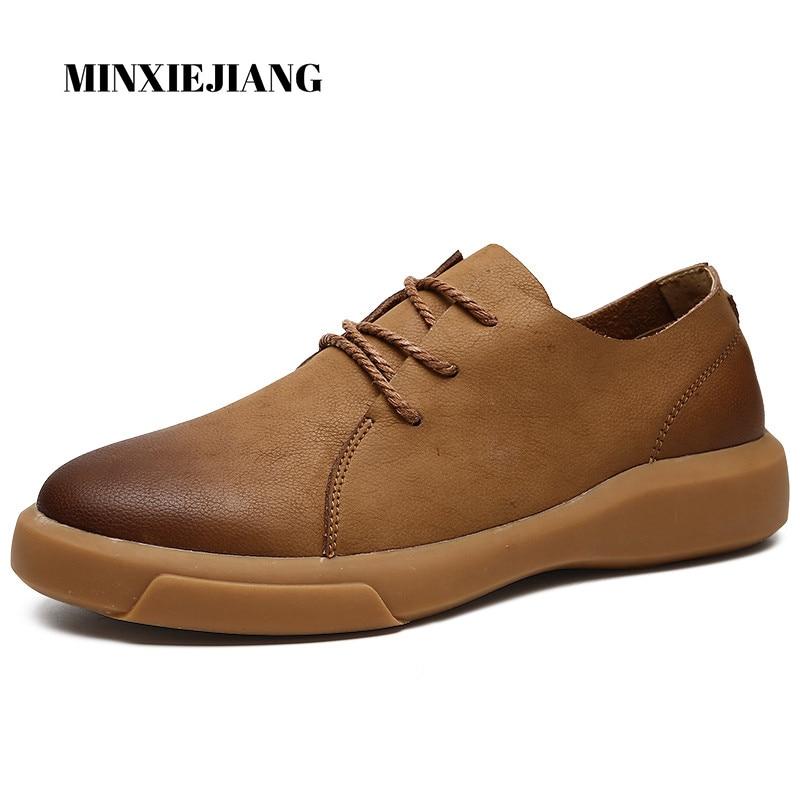 MINXIEJIANG 2019 invierno nuevo negro británico viento Martin botas bajas para hombres para ayudar a los zapatos casuales de cuero para hombres cómodos botines