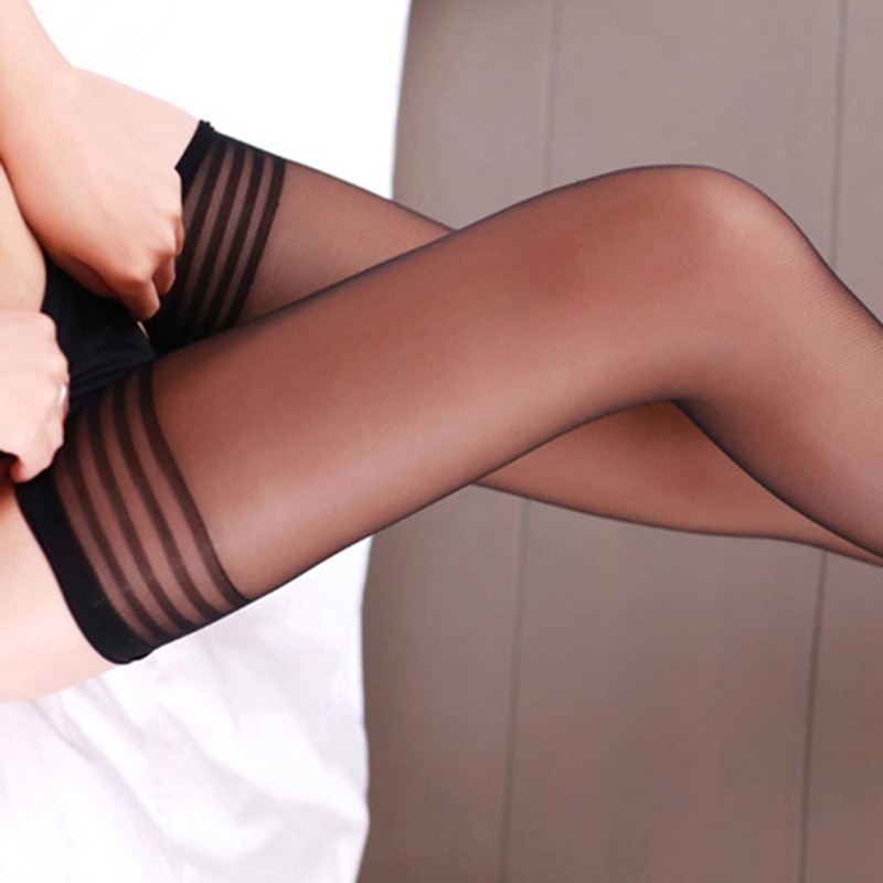 Erotic BLACK STRIPE TOP STAY UP/HOLD UPS THIGH HIGH STOCKINGS - FASHION HOSIERY  3006