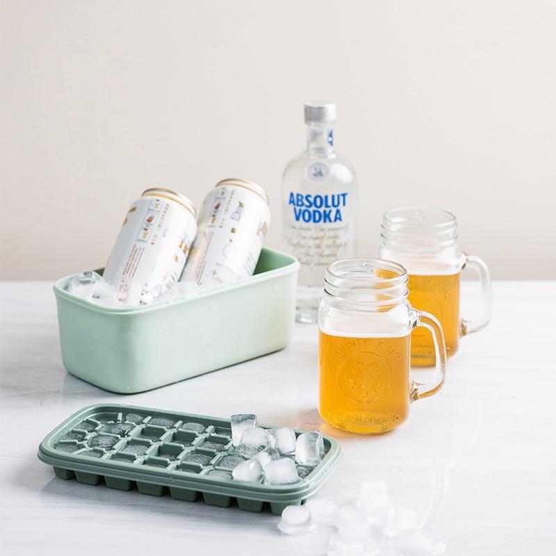 Silicone cubo de gelo bandejas 2 pacote de gelo fabricante de cubo e cubo de gelo recipiente de armazenamento conjunto de moldes de gelo fabricantes para bebidas frescas comida para bebê