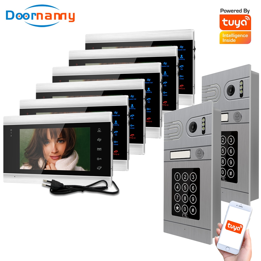 Doornanny 2 To 6 Doorbell Home Intercom Wireless WiFi Intercom Video Phone Doorman SmartLife Tuya 960P AHD Password Card Access