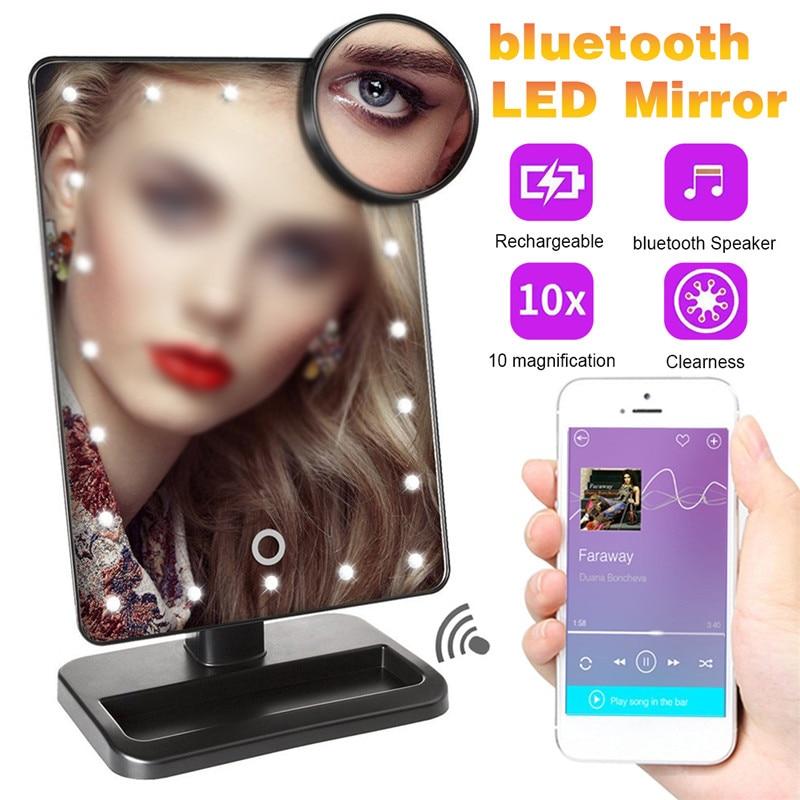 Espejo de maquillaje con pantalla táctil LED, espejo de maquillaje con 10x, espejo de aumento con 360 grados para ordenador de sobremesa, tocador de maquillaje con bluetooth