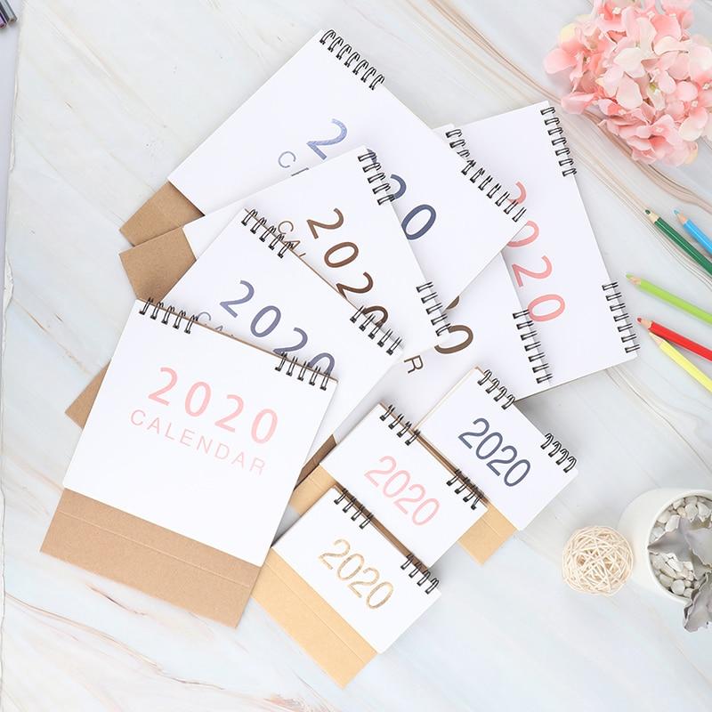 2019-2020Desk-Top, calendario con tapa, mes para ver, planificador de mesa de oficina de pie para el hogar