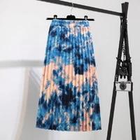 summer skirt women retro abstract chiffon pleated skirt stretch elastichigh waist tie dyeaskirt female pleated skirt long skirt