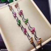 kjjeaxcmy fine jewelry 925 sterling silver inlaid gemstone tourmaline women hand bracelet fashion support detection