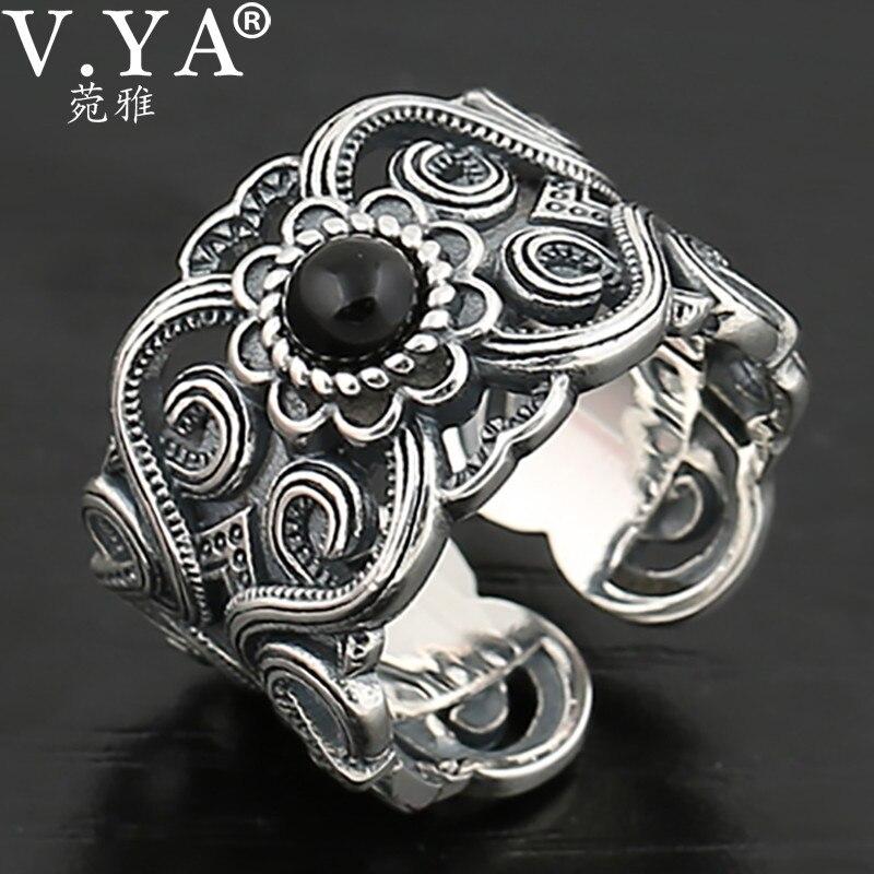 V.YA-خواتم مفتوحة من الفضة الإسترليني عيار 925 للرجال والنساء ، مجوهرات إبهام على شكل زهرة ، هدايا للعشاق