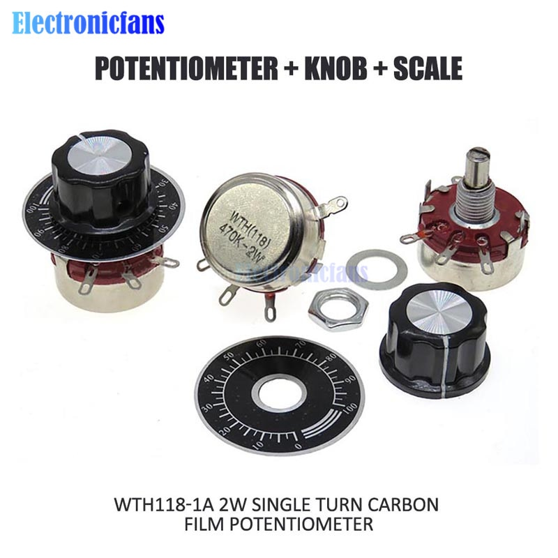 1 conjunto wth118 kit diy peças 2 w 1a 1 k 2.2 k 4.7 k 10 k 22 k 47 k 100 k 220 k 470 k k ohm 3pin linear atarraxamento potenciômetro rotativo com tampa dial
