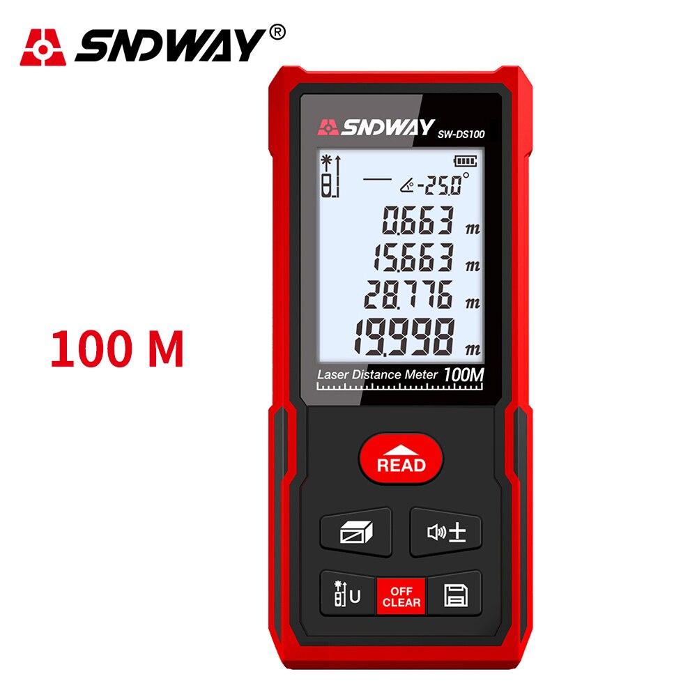 Sndway medidor de distância a laser fita métrica 50m 100m 120m telêmetro laser roleta eletrônica digital tocou localizador fita de medição