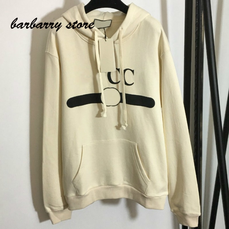 luxury brand letter color blocking printing fashion women's long sleeve hooded top temperament versatile loose casual Pullover