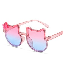 DLIDW 2021 Kids Sunglasses Girls Boys Shiny Bowknot Sun Glasses Lovely Cat Children Eyewear Fashion