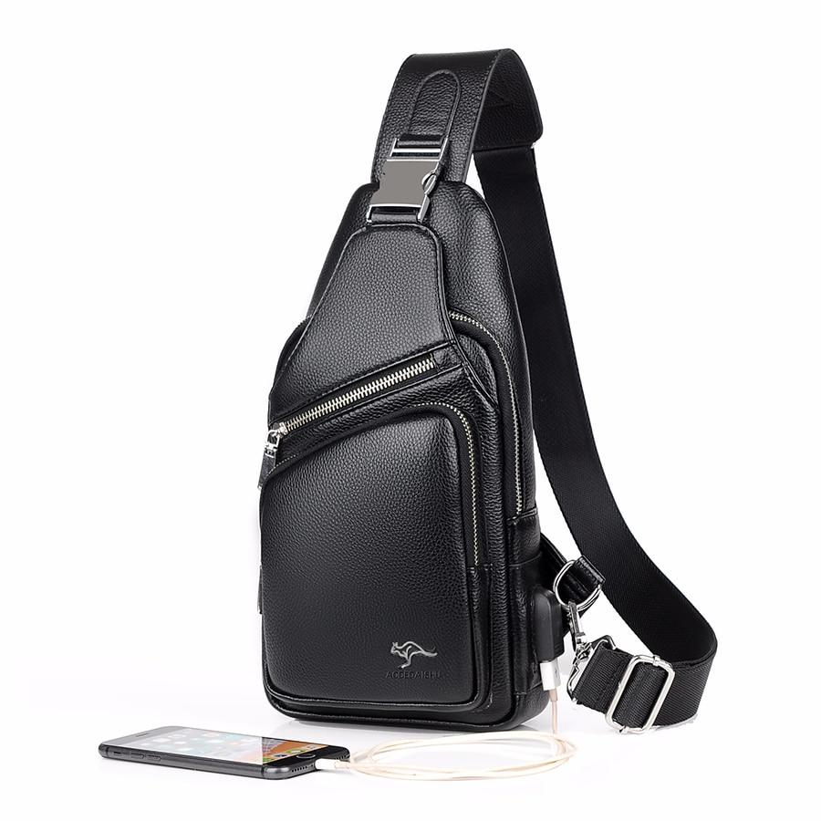 Jackvin-حقيبة كتف جلدية سوداء للرجال ، حقيبة ظهر عصرية مقاومة للماء مع شحن USB ، حقيبة سفر ، 2021