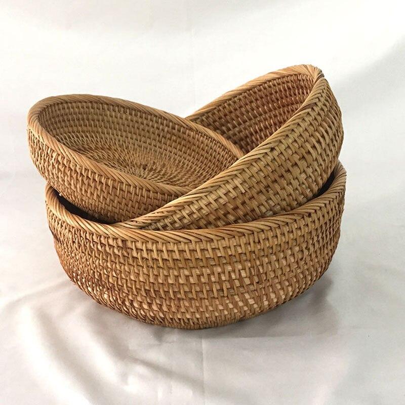 3 unids/set cesta de almacenamiento redondo tejida a mano Plato de frutas cesta de ratán para pan para Cocina Comida Picnic pan Sundry cestas