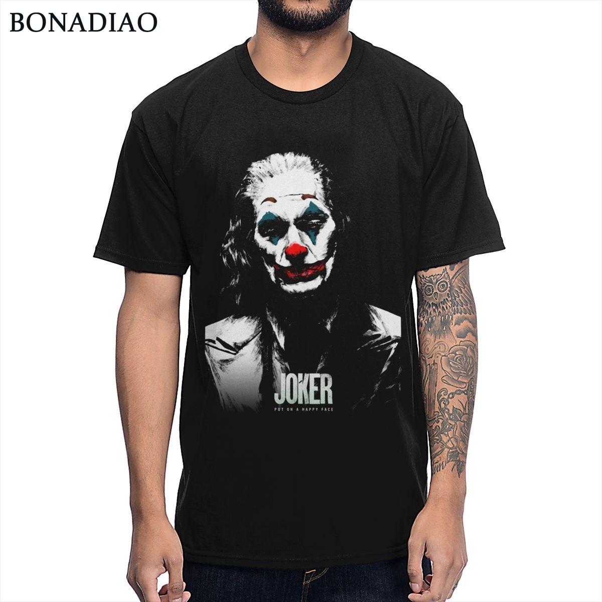 2019 nueva película Joker Joaquín Phoenix Pop Art camiseta Rock Roll Camiseta de cuello redondo de algodón saludable
