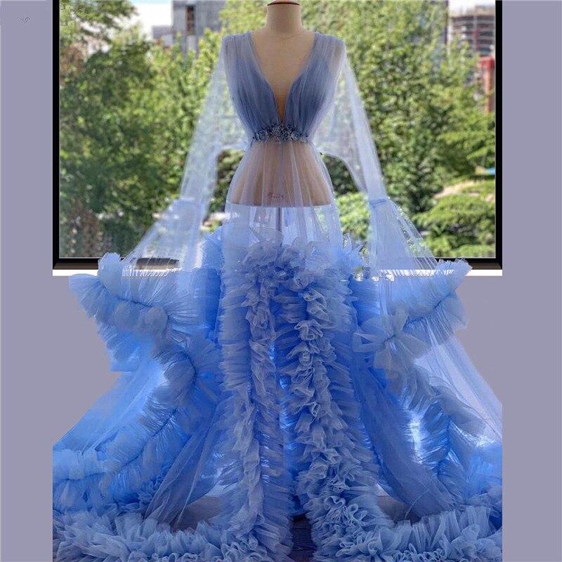 فستان سهرة شفاف للحوامل من التول ، أزرق ، متعدد المستويات ، ملابس نوم ، ثوب كرة ، مصنوع حسب المقاس ، مجموعة 2021