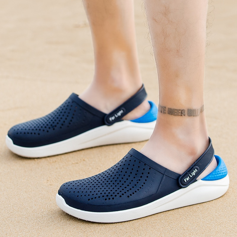 Large Size 36-45 Crocs Men Outdoor Slippers Fashion Personality Flip-flops Non-slip Semi-slippers Summer Men's Buns Beach Sandal
