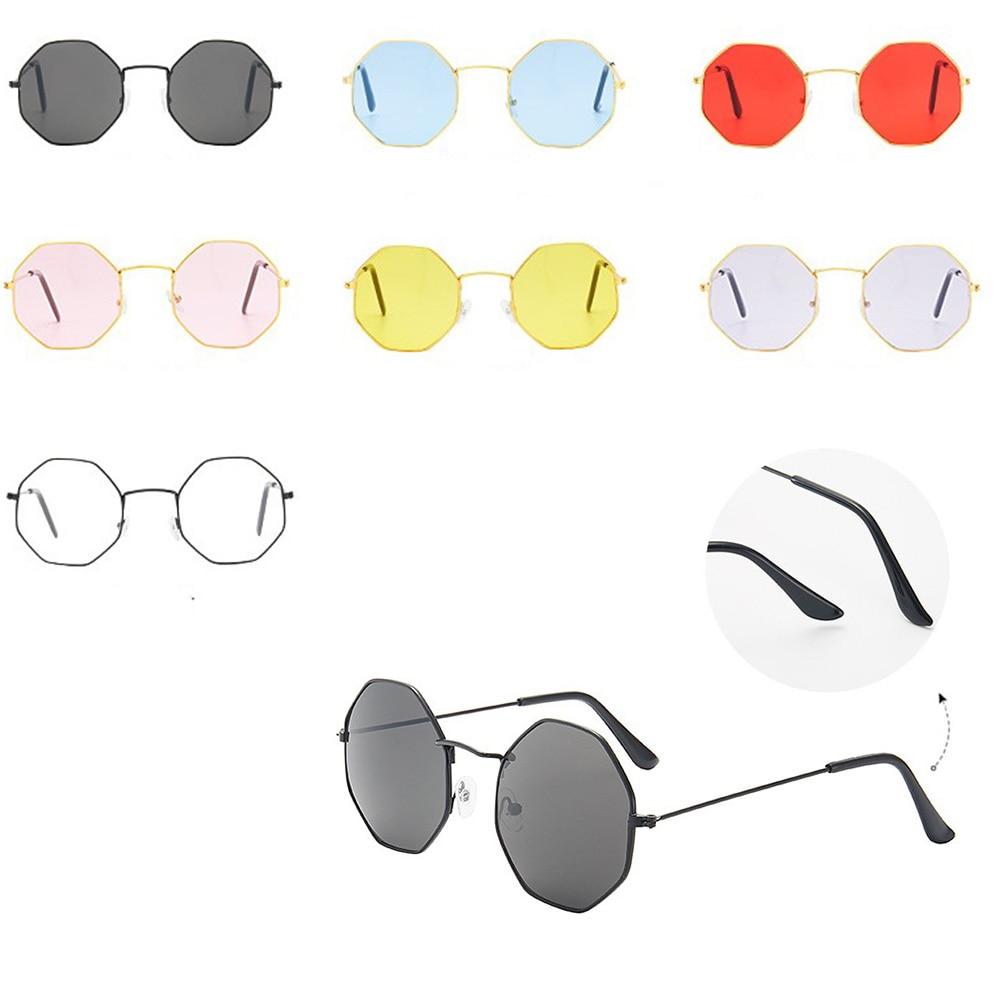 Retro Sunglasses Unisex Anti Blue Light Metal Eye Glasses Fashion Polygon Transparent Spectacle Fram