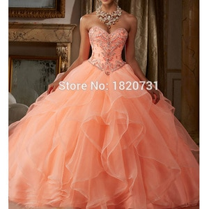 Sweet 15 Year Coral Quinceanera Dresses Sweetheart Sleeveless Ball Gown Organza Beading Sequin Lace Up Birthday Party Dress