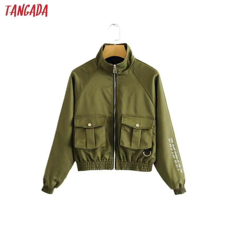 Tangada Женская тонкая весенняя куртка-бомбер с буквенным принтом, Женская куртка на молнии с длинным рукавом, Женская куртка большого размера, верхняя одежда 2L01